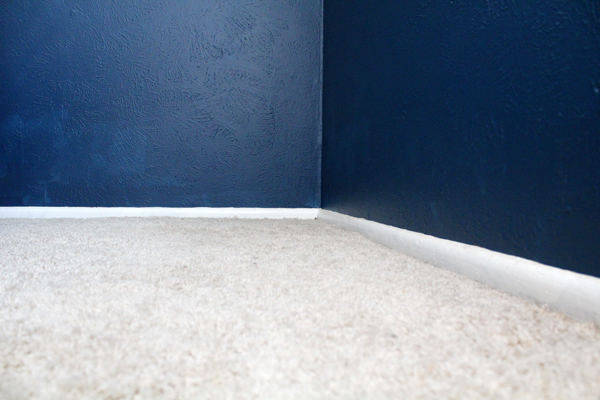 closeup of off-white carpet beside a dark blue wall