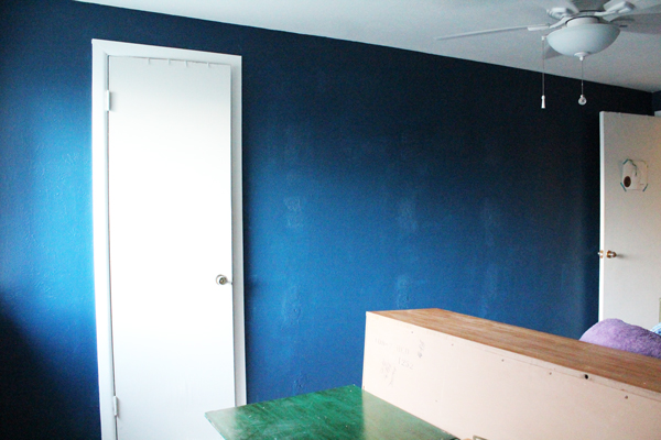 previously gray walls are now dark blue
