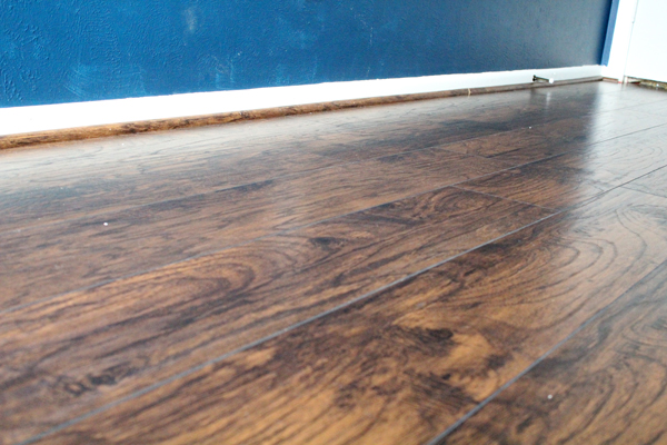 wood laminate floor in hickory brown