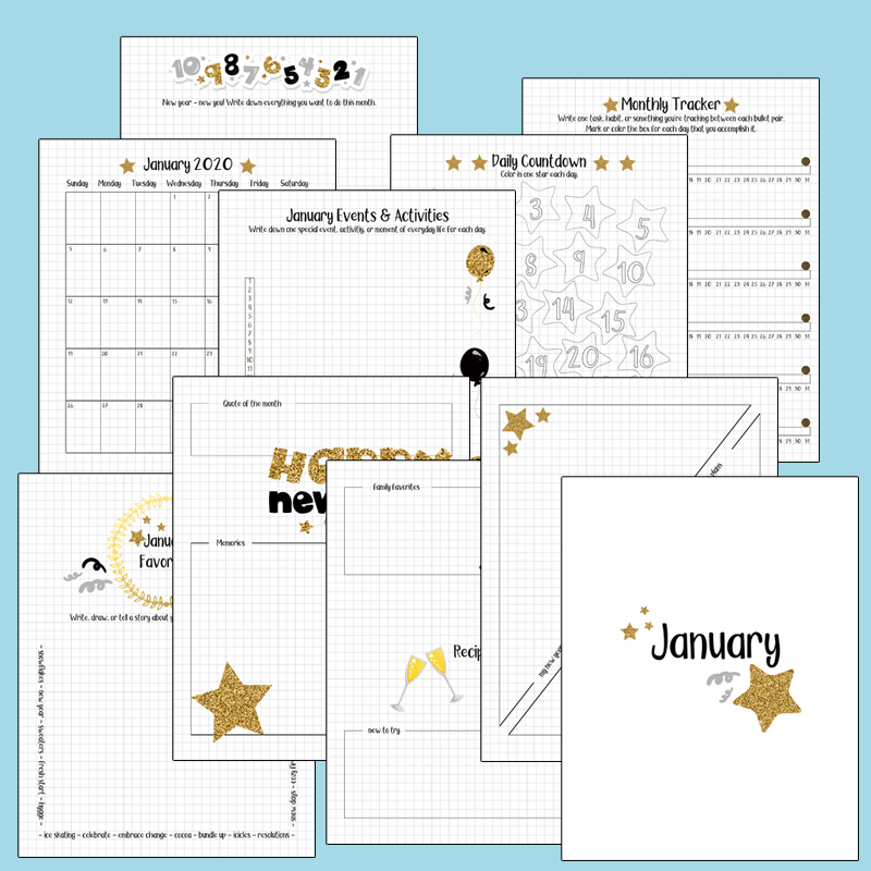 January 2020 bullet journal set with 10 pages