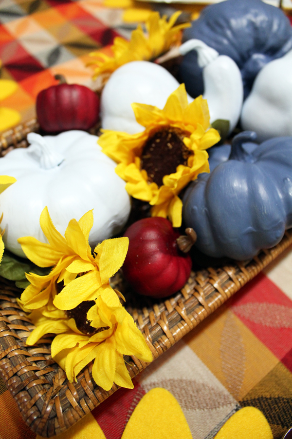 blue and red pumpkins and yellow sunflowers