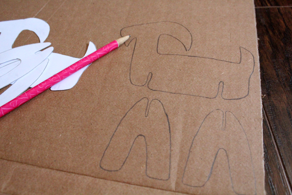 goat template traced onto cardboard