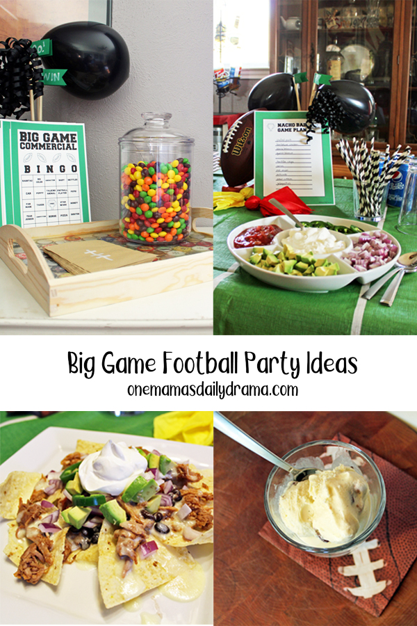 collage of football party photos including big game commercial bingo, a nacho bar, and snicker ice cream