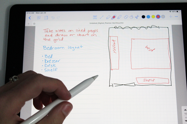 an ipad screen with a bullet list of furniture on the left and a drawing on a room on the right