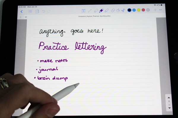 using an apple pencil to write on lined pages