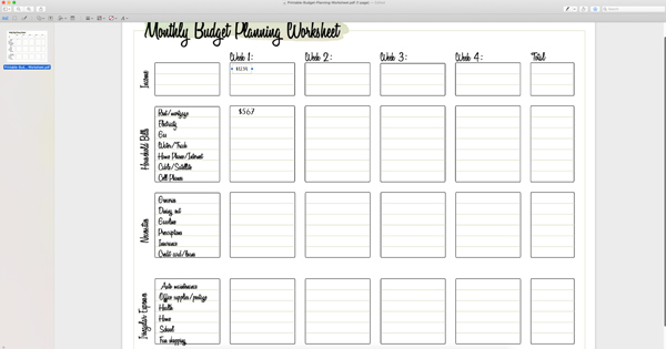 monthly budget planning worksheet open in Mac Preview