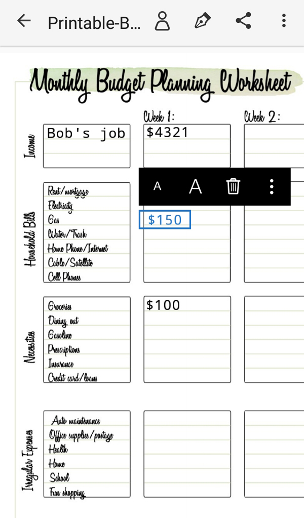 screenshot of a monthly budget worksheet in Adobe Fill & Sign on an Android phone
