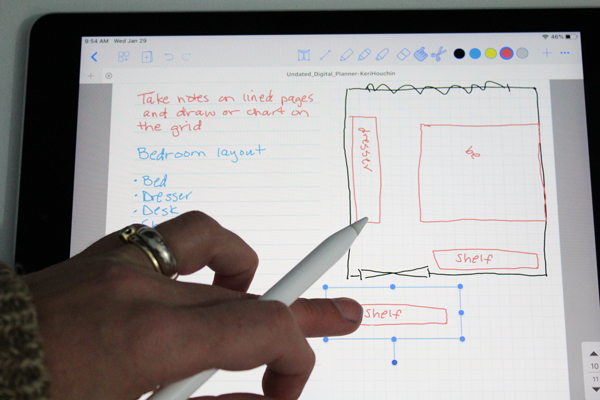 ipad screen showing a list and a grid drawing