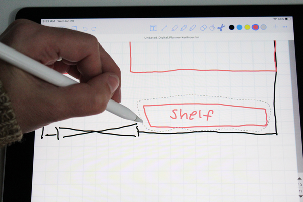 """drawing a dotted line around a box labeled """"shelf"""" on a gridline page"""