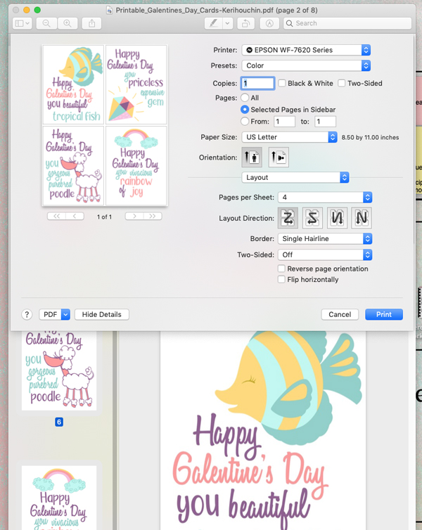 iMac print menu set to print 4 different cards on a single page