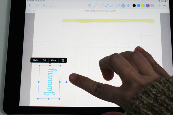 using one finger to rotate a text box on an ipad screen