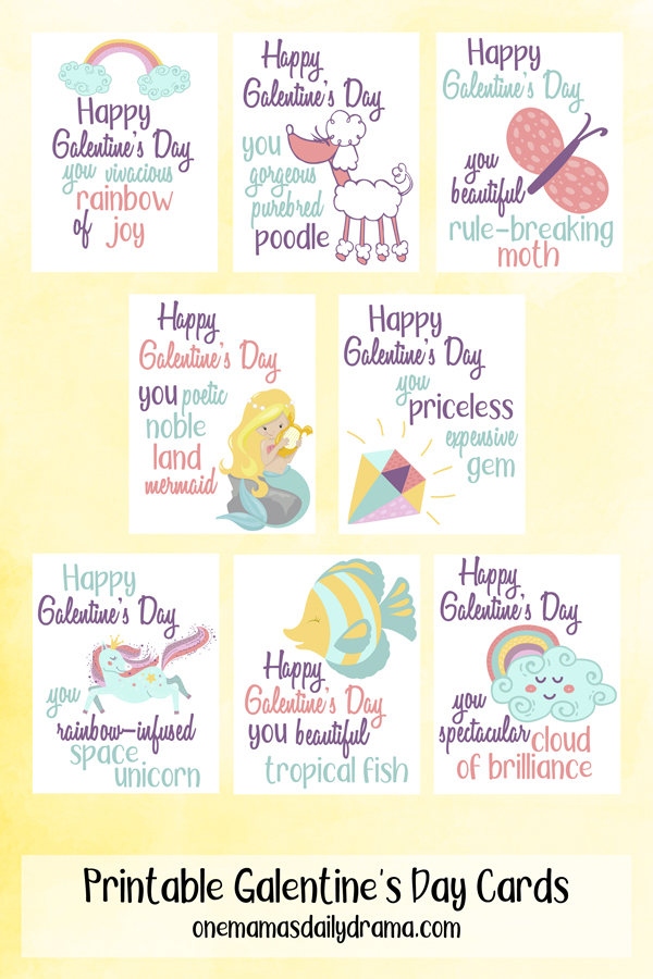 8 galentine's day card illustrations with a pink, blue and yellow pastel design and a silly compliment
