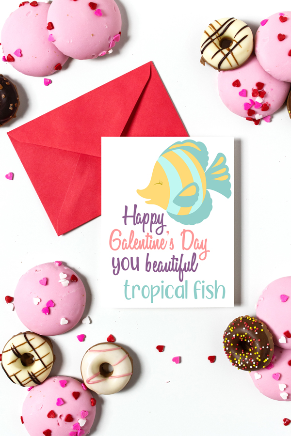 """white table full of doughnuts with a  red envelope and card in the center that reads """"Happy Galentine's Day you beautiful tropical fish"""""""