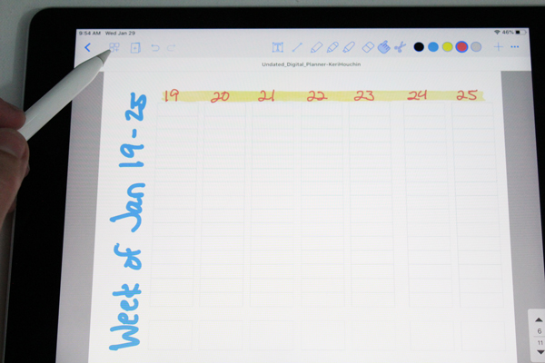 using an apple pencil to click on a menu