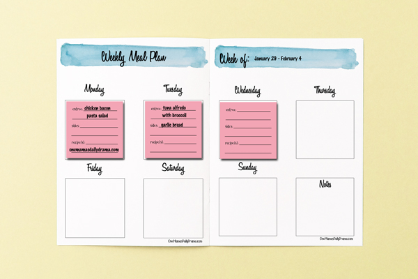 2 page weekly meal planning system with pink sticky notes on monday, tuesday, and wednesday