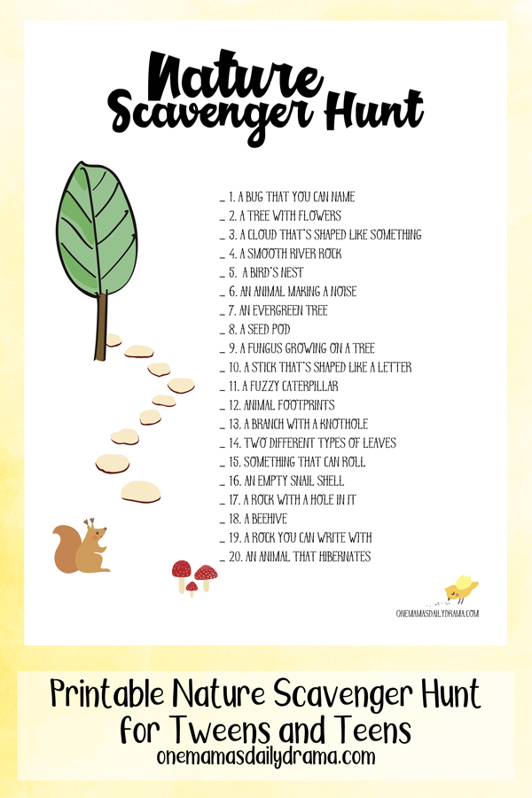 Printable Nature Scavenger Hunt For Tweens And Teens